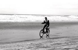 biker on the beach