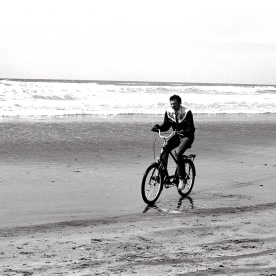 biker on the beach
