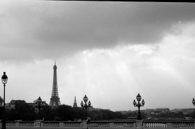 God beams and the Eiffel Tower
