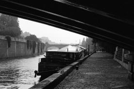 under the bridge, along the Seine
