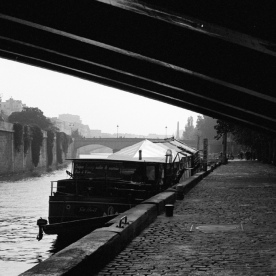 under the bridge, along the Seine