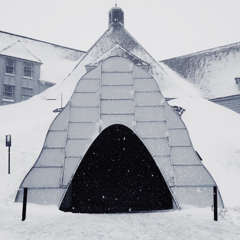I have lived here for six years and I have never seen Timberline Lodge in the Winter, which is really the way it is meant to be experienced. Can you believe that?!? Here is the front entrance. The put a covering over the stairs to prevent it from getting covered in snow and ice.