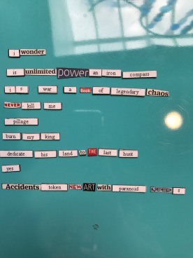3/31: Really loving the magnetic poetry in the library