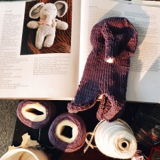 4/12: Knitting, coffee, and audio-book in the morning keeps me sane.