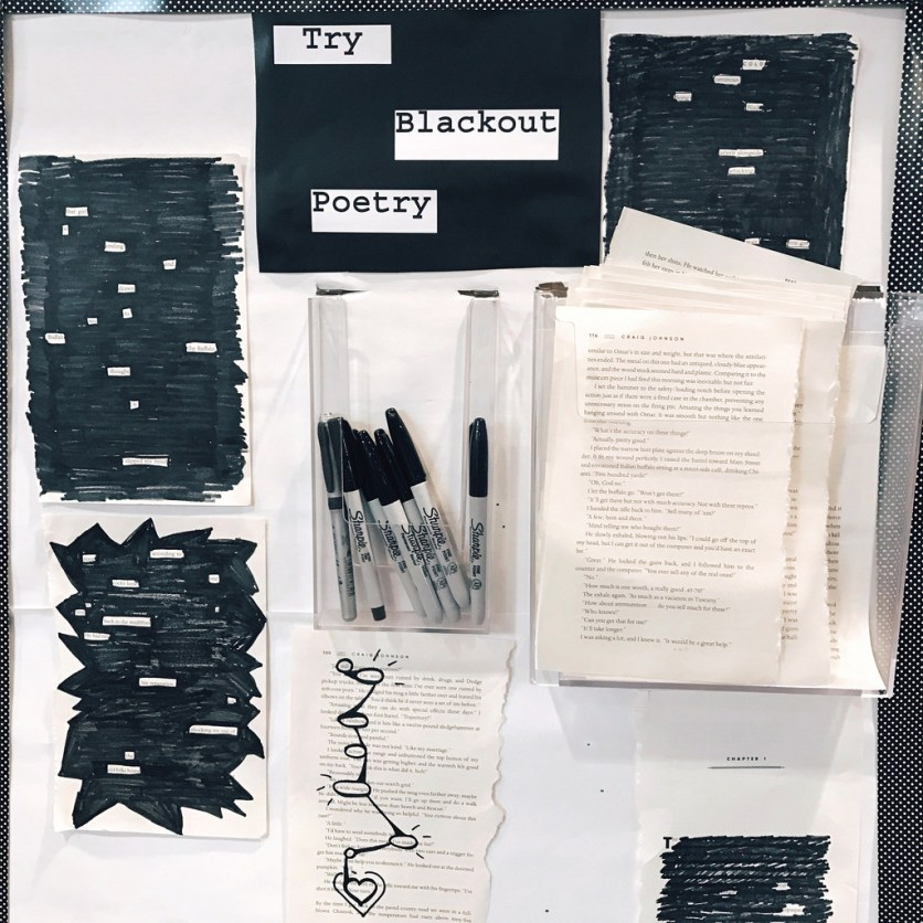 4/4: So happy to see people making Blackout Poetry at the library!